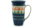 Tea Infusion Mug, 13 ounce - Polish Pottery - Pattern P0977A (560X)