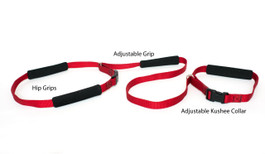Our Hands Free Dog Leash is use mostly for running your dog, or for a hands free walk. The kushee grips go around your waste for comfort and they can be adjusted with ease.