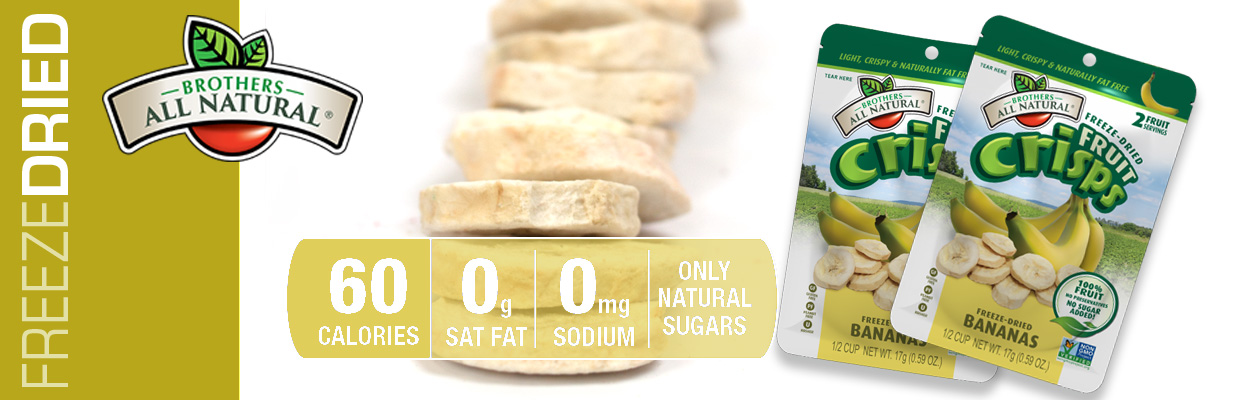 Brothers All Natural Freeze Dried Bananas are 100% all natural. No additives or preservatives