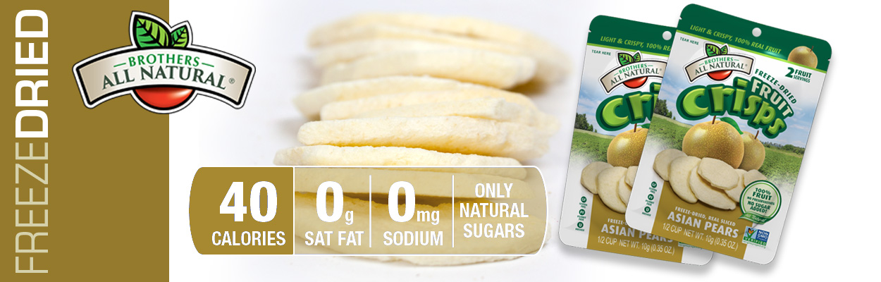 Brothers All Natural Freeze Dried Pears are 100% all natural. No additives or preservatives