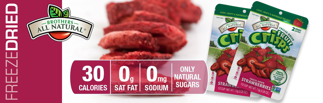 Brothers All Natural Freeze Dried Strawberries are 100% all natural. No additives or preservatives