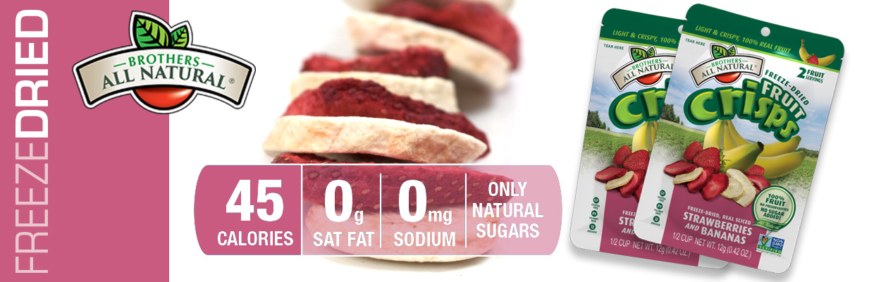 Brothers All Natural Freeze Dried Strawberry-Bananas are 100% all natural. No additives or preservatives