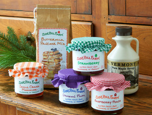 Vermont Jam Gift Box Basket with Maple Syrup and Homemade Jam from Sidehill Farm