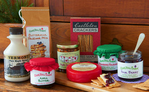 Green Mountain Pantry- The perfect  gift to fill the pantry with  Vermont's finest gourmet foods- Vermont Jam, Peanut Butter, maple syrup, cheese and pancake mix.