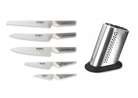G-88/61DST, 6-PC KNIFE BLOCK SET W / DOTTED 11 SLOT STAINLESS STEEL BLOCK