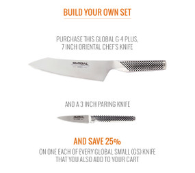 Global G-4 Plus, 7 Inch Oriental Chef's Knife and GSF-46, 3 Inch Paring Knife Packaged Separately