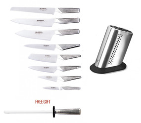 Global G-88/92ST, 10-PC Knife Block Set Including Free G-45 w/ Dotted 11 Slot Stainless Steel Block