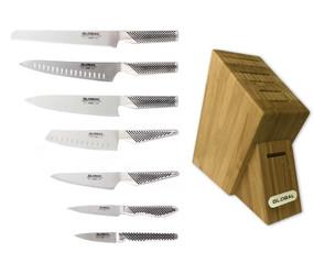 Global G-7/81ST, 8-PC Knife Block Set w/ 7 Slot Bamboo Block