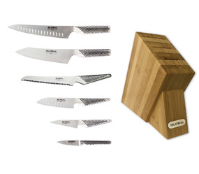 Global 7-PC Bamboo Knife Block Set