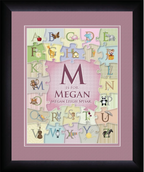 Personalized Alphabet Puzzle Wall Art for Girls Framed with mat