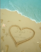 Personalized Sandy Heart on Beach Art