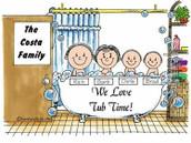 Friendly Folks Personalized Tub Time Cartoon Print