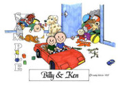 Friendly Folks Personalized Brothers Cartoon Print