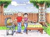 Friendly Folks Personalized Family BBQ Cartoon