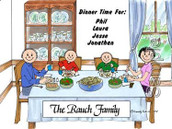 Friendly Folks Personalized Family Dinner Cartoon Print