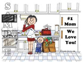 Friendly Folks Personalized #1 Mom Cartoon Print