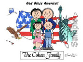Friendly Folks Personalized Patriotic Family Cartoon Print