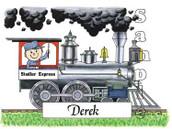 Friendly Folks Personalized Train Engineer Cartoon Print