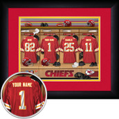 Personalized Locker Room NFL Sports Print Wood Framed 13x16