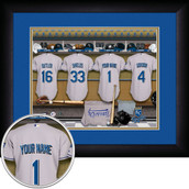Personalized MLB Locker Room Sports Print framed in black frame