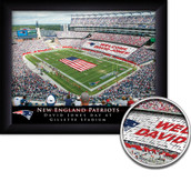 Personalized NFL Stadium Card Sports Print in black wood frame
