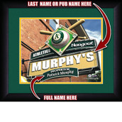 Personalized MLB Pub Hangout Sports Print in black wood frame