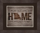 Home is Where the Heart is State Personalized 13x16