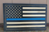 Custom Carved Blue Line Wood Flag