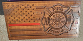 Custom Carved Fire/Rescue Red Line Wood Flag