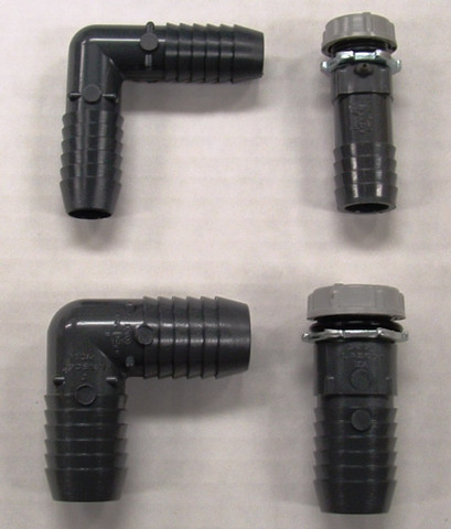 "Top fittings are 3/4"" and bottom are 1"" fittings for 8 or 10 cylinder engines. Left fittings are the standard fitting that comes with the kit.  The right fittings are optional and cost extra."
