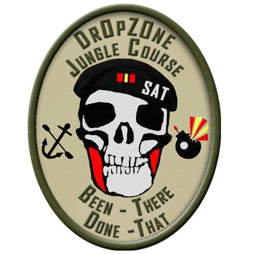 The DrOpZOne Jungle Course patch, 100% Embroidery with velcro backing to allow you to move it from your shirt to your cap to your bag, can only be purchased by individual who complete the Jungle Course successfully. Successfully means you complete the entire course in less than 2 hours without having to be carried.