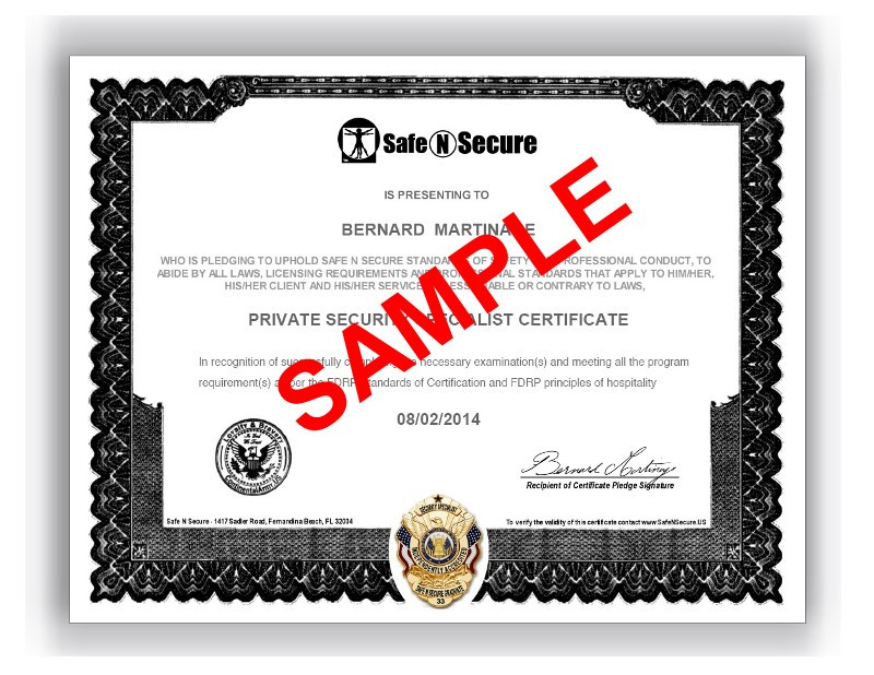 Private Security Specialist Certificate Safe N Secure
