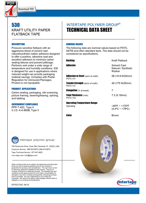 INTERTAPE KRAFT FLATBACK Tape 530 Spec Sheet