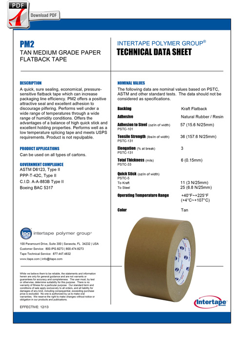 INTERTAPE KRAFT FLATBACK Tape PM2 Spec Sheet