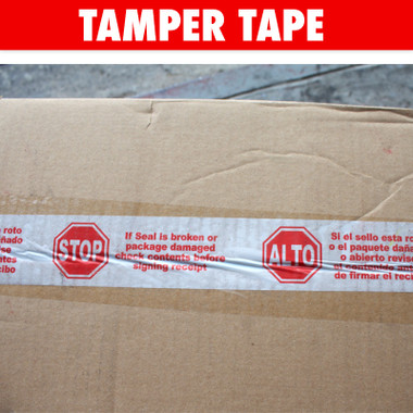 Tamper Tape in Spanish and English.