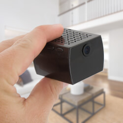 Mini Black Box Spy Camera in Living Room