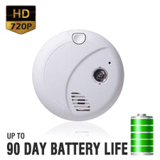 720P HD Motion Activated Smoke Detector Spy Camera with Up to 90 Day Battery Life