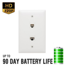 720P HD Telephone Jack Outlet Hidden Camera with Up to 90 Day Battery Life