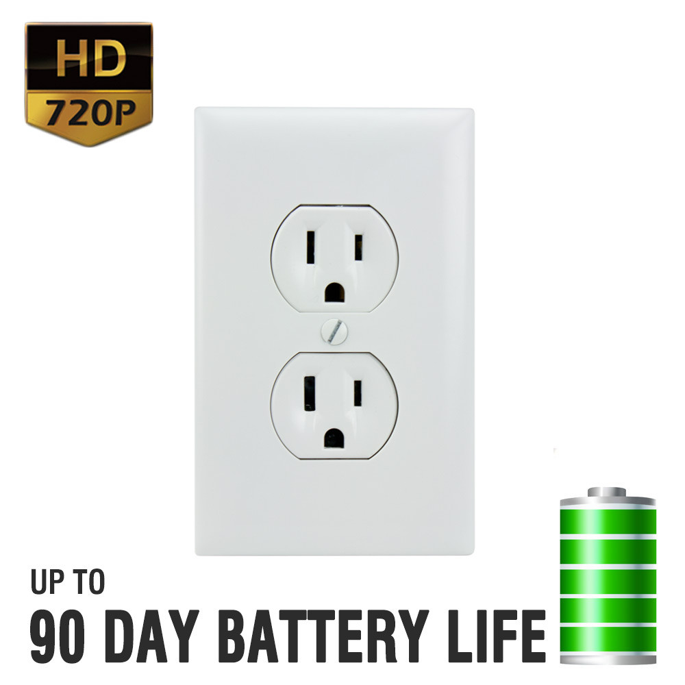 720P HD Battery Powered Electrical Power Outlet Hidden Spy Camera ...
