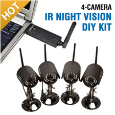 4 Camera Wireless Indoor Outdoor System with Night Vision and Internet View