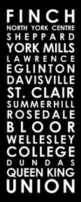 Toronto subway sign for TTC Yonge line 20x40""