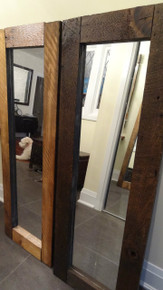 """SOLD - Two barn board mirrors measuring 20"""" by 56"""""""