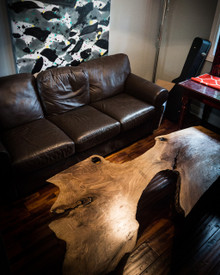 """SOLD - Incredible unique, live edge walnut slab coffee table, in Toronto, huge 73.5 x 35"""""""