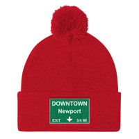 Downtown Newport Exit Pom Pom Knit Cap