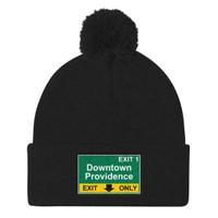 Downtown Providence Exit Pom Pom Knit Cap