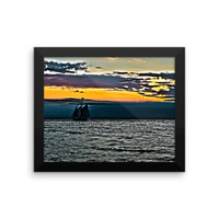 The Mystic Whaler Rounding Block Island Framed photo paper poster