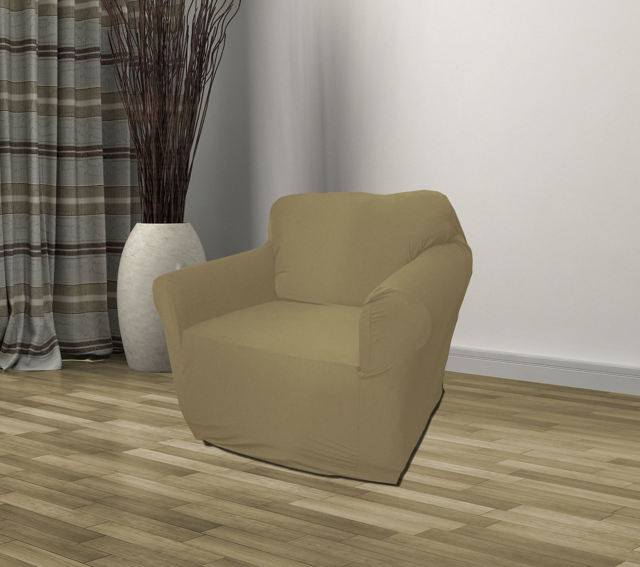Taupe Jersey Sofa Stretch Slipcover Couch Cover Love Seat