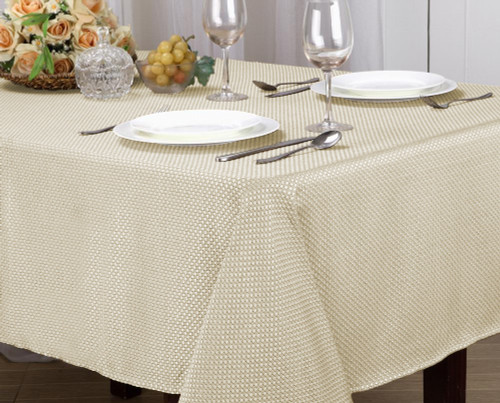 Monarch Collection Textured Jacquard Fabric Tablecloth