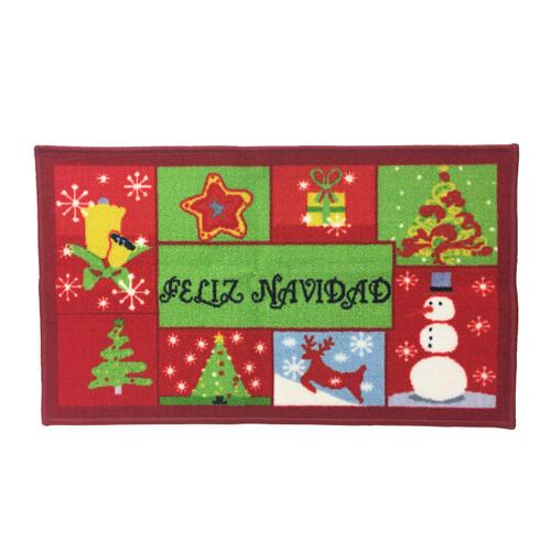 Christmas Kitchen Rug, Decor Mat, Feliz Navidad