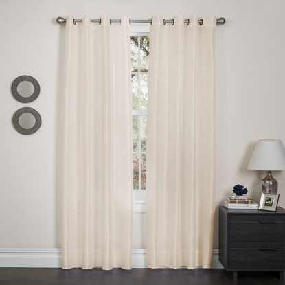Holly Faux Silk Window Curtain Panel Linen Store